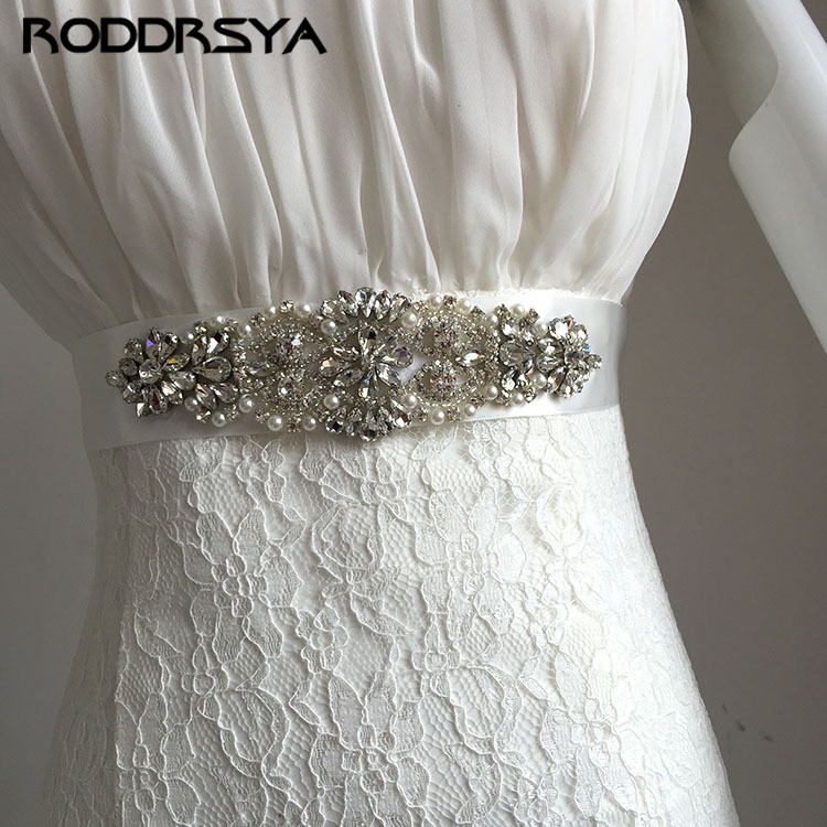 Luxury Rhinestone Wedding WhiteBelt Hand-Stitched Crystal Diamond Bridal Accessories