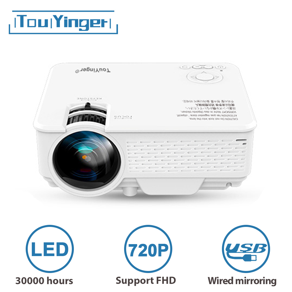 TouYinger LED Mini projector M4 Plus 720P, support Full HD video beamer for Home Cinema, 2400 lumen movie projector Media Player