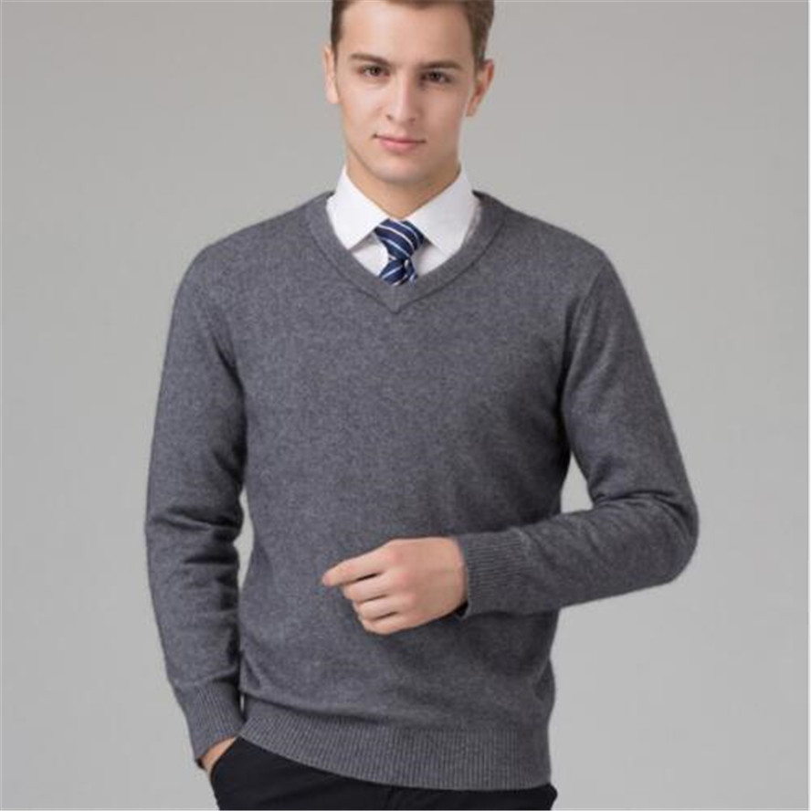 Sweater Man 100% Cashmere And Wool Knitted Winter Warm Pullovers V-neck Long Sleeve Standard Sweaters Male Jumper 8Colors Tops