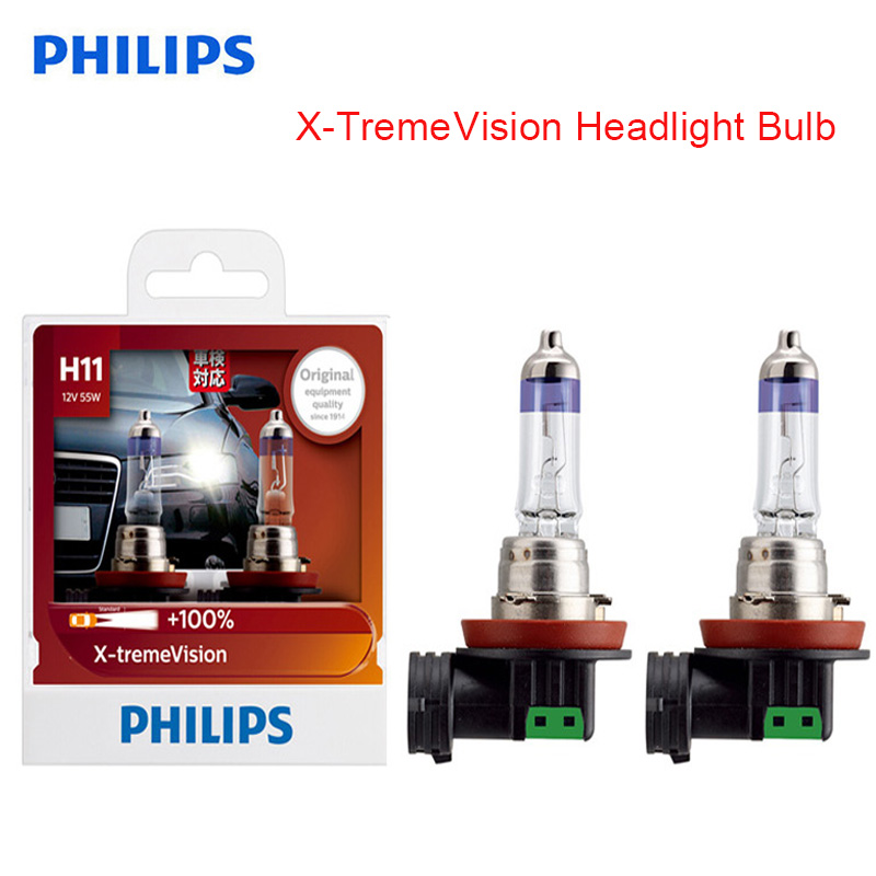 Philips H11 12V 55W PGJ19-2 X-treme Vision Car Headlight Bright Halogen Fog Lamps ECE Approve 100% Original 12362XV S2, Pair