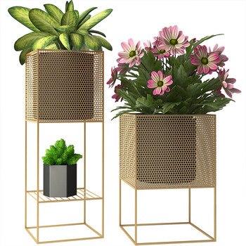 Nordic Designer Minimalist Indoor Living Room Flower Stand Balcony Creative Green Planting Stand Flower Metal Stand