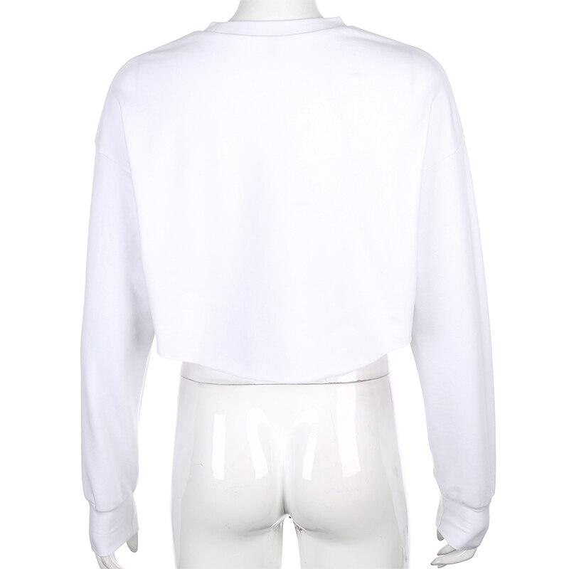 ESTAÇÕES Cropped Streetwear O-pescoço Camisola Solta Moda