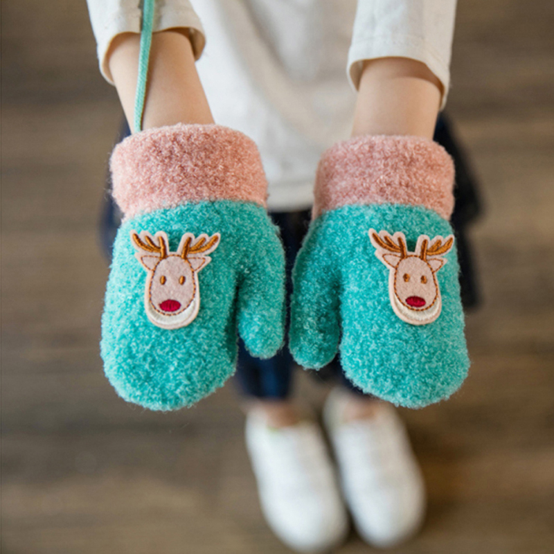 Fashion Children Christmas Thick Gloves Warm Winter Knitted Gloves Mittens Christmas Girls Boys Gloves