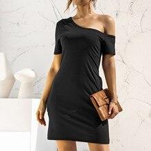 Pocket-Dress Women's Irregular Vestido Strapless Loose Vintage Sweet Off-Shoulder Short-Sleeved