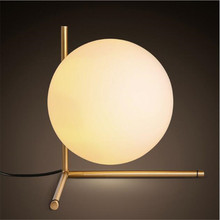 Modern Style Gold Metal Dining Room Table Light Milky Glass Ball Cafe / Studio Light Bedroom Lamp AC90-265V Free Shipping loft style clear glass wall lamp black metal glass ball wall light bedroom light dining room light free shipping