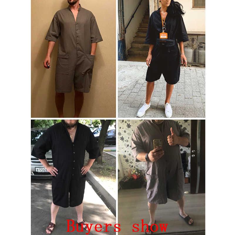 Mamelucos sueltos de verano de INCERUN media de algodón de manga pantalones de botón Vintage Casual sólido hombres Cargo overoles mono pantalones hombres