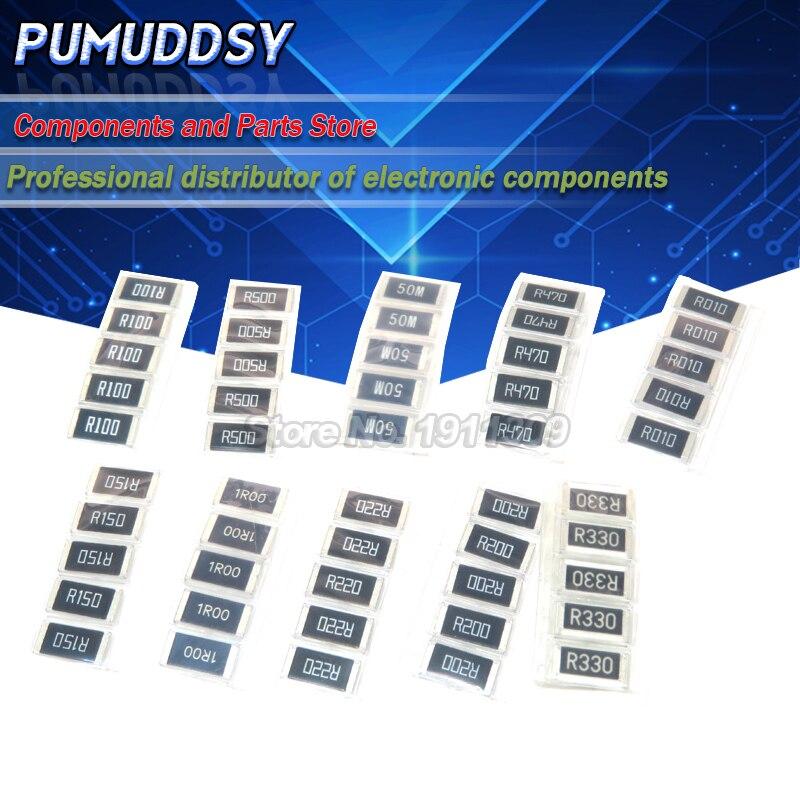 50 шт сплав сопротивления 2512 SMD резистор Образцы комплект, 10 kindsx5шт = 50 шт R001 R002 R005 R008 R010 R015 R020 R025 R050 R100