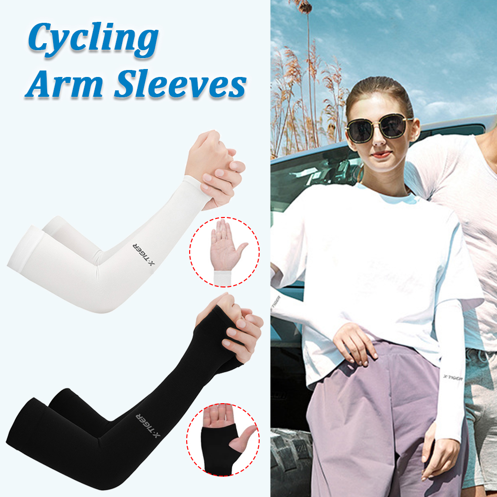 Cycling Arm Warmers Summer Ice Fabric Running Cycling Sleeve UV Sun Protection Unisex Sleeves For Arm Outdoor Sports Cycling