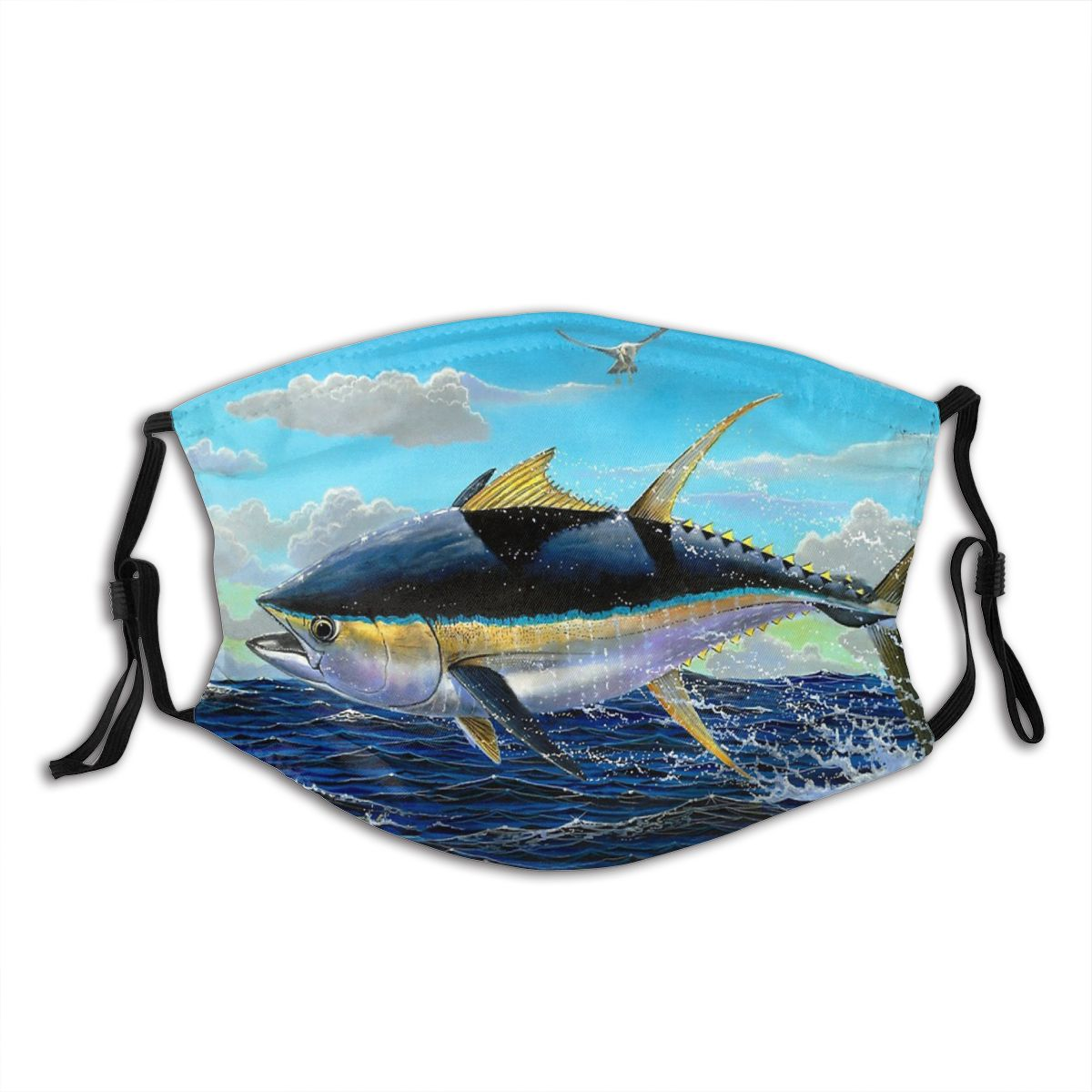 Многоразовая маска для лица Yellowfin, морская вода, волны, рыбалка, маска против смога с фильтрами, защитная маска, респиратор