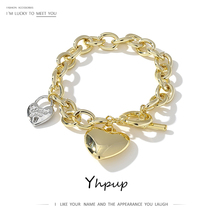 Yhpup Romantic Heart Pendant Bangle Bracelet for Women Charm Metal Gold Color Toggle-clasps Bangle Jewelry Anniversary Gift