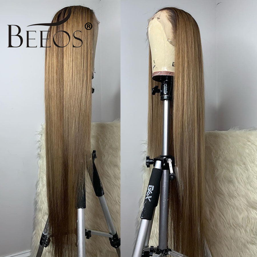 Beeos 1B/27 Ombre Honey Blonde Deep Part Color Lace Front Human Hair Wigs With Baby Hair 13*6 Straight Brazilian Remy Wig