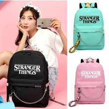 Stranger Things Backpack multifunction USB charging for teenagers Student Girls School Bags Letters Print Ribbons