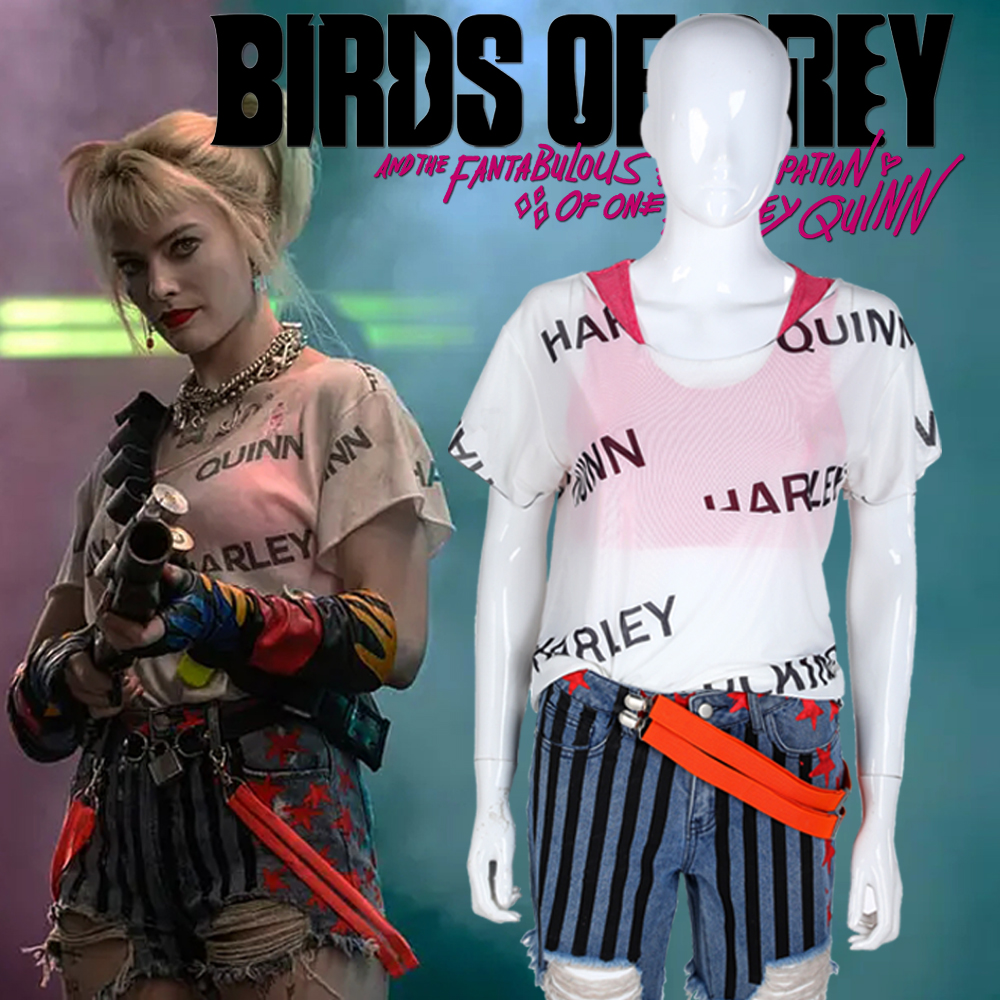 Harley Quinn T Shirt Birds Of Prey Short Pants Cosplay Costume Women T-Shirt Suicide Squad 2 Joker Halloween Party Costumes