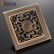 Shower Square Bath Drain Strainer Hair Filter Antique Brass Art Carved Design Cover Bathroom Waste Grate Floor Drains 12*12cm