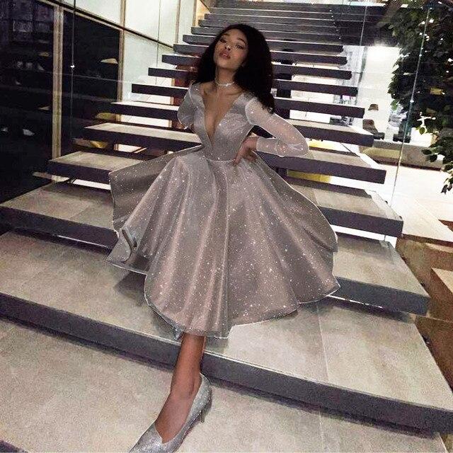 SoDigne Sparkling Evening Dress 2021 robe longue V- neck Long Sleeves Medium Length Wedding Party Dress Prom Gowns 1