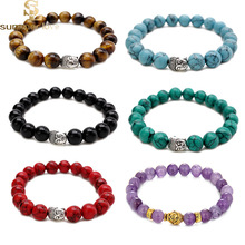8 mm Round Beads Bracelet Gold Buddha Natural Amethysts Purple Quartz Stone Bracelet for Women Stretch Energy Bracelet 2017 New цена и фото