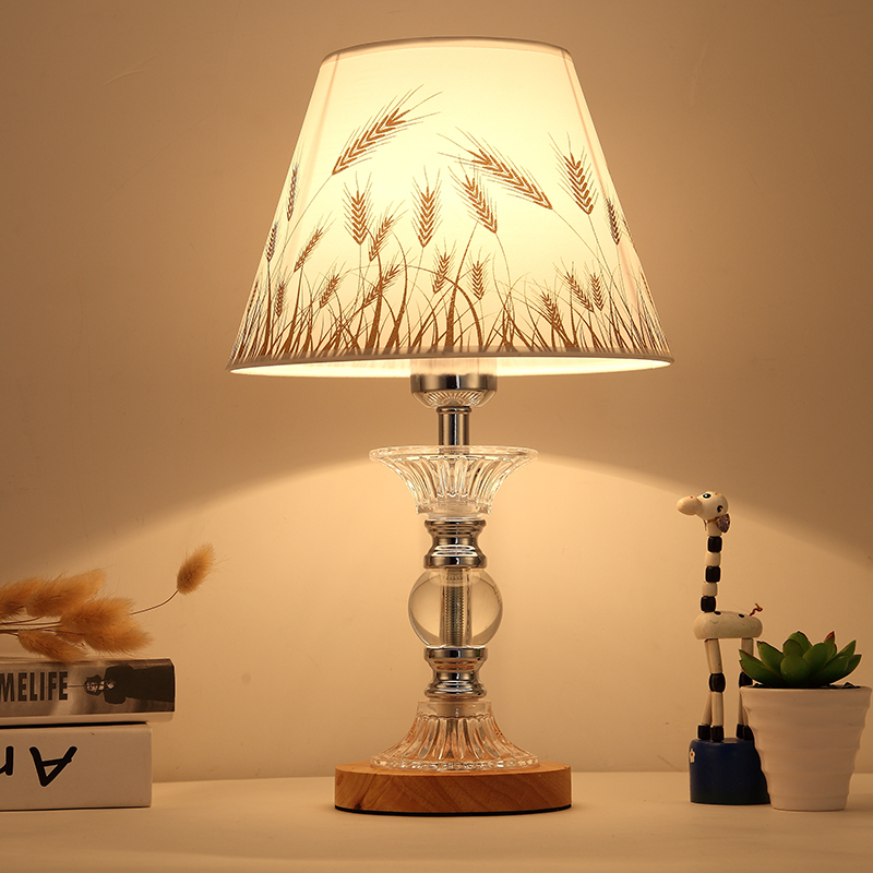 Modern Simple Linen Lampshade Study Bedroom Bedside Lamp Desk European Fashion LED Crystal Table Lamp E27