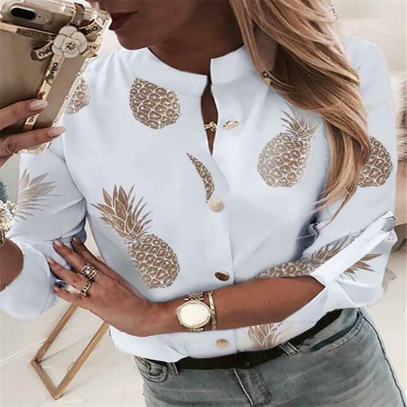 Women Crew Neck Long Sleeve Office Lady Autumn Shirt Ladies Tops Ladies Casual Loose Top Autumn Plus Womens Shirt