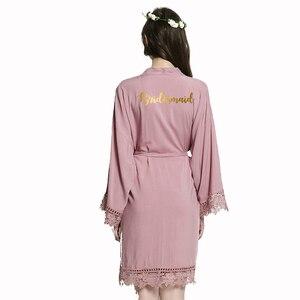 Image 5 - YUXINBRIDAL2019 nowa fioletowa panna młoda druhna panna młoda szaty bawełna szlafrok Kimono z koronki wykończenia kobiety ślub Bridal Robe krótki