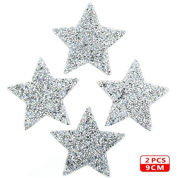 Стразы со звездами, смешанные размеры, нашивки, нашивки с вышивкой, термо-Стикеры для одежды, 5 видов цветов, блестки, нашивки для одежды, сделай сам - Цвет: 9cm Sliver 2pcs