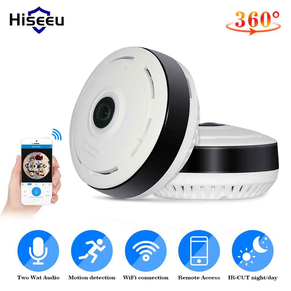 Hiseeu 960P 3D VR Wifi FishEye IP Camera 360 Degree Full View Mini CCTV Camera 1.3MP Network Home Security Camera Panoramic