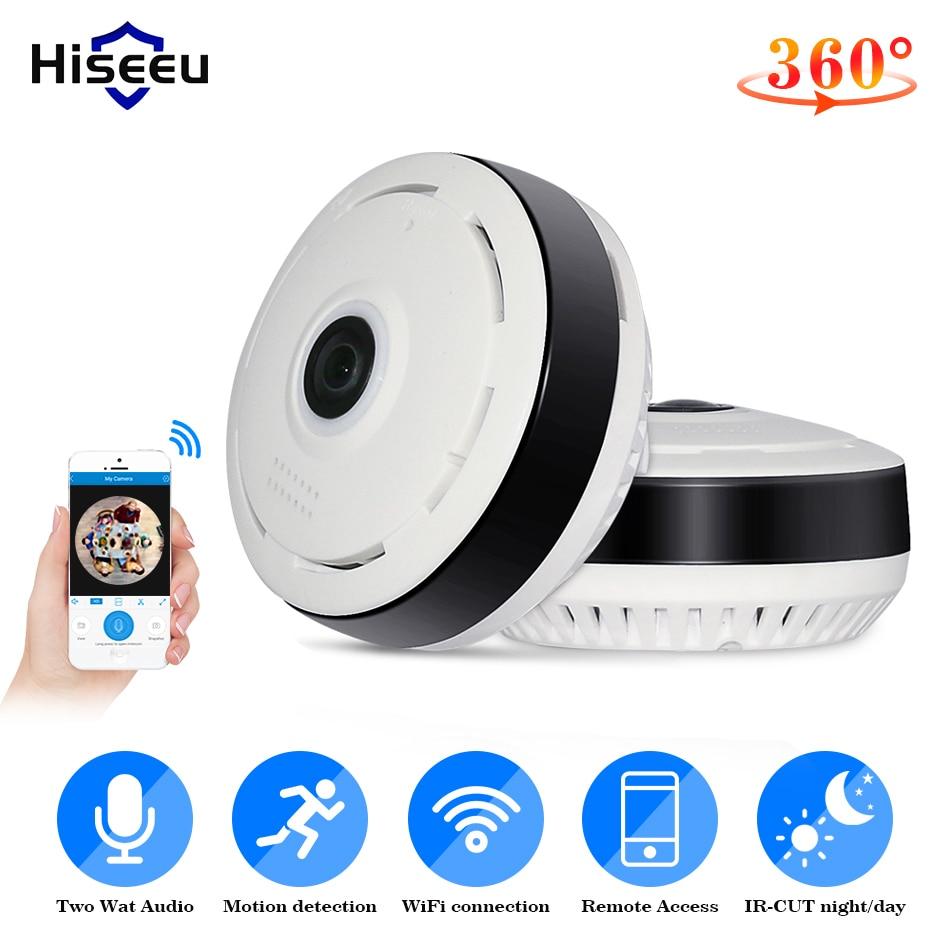 Güvenlik ve Koruma'ten Gözetim Kameraları'de Hiseeu 960P 3MP 3D VR wifi balıkgözü IP kamera 360 derece tam görünüm Mini güvenlik kamerası 1.3MP ağ ev güvenlik kamerası panoramik
