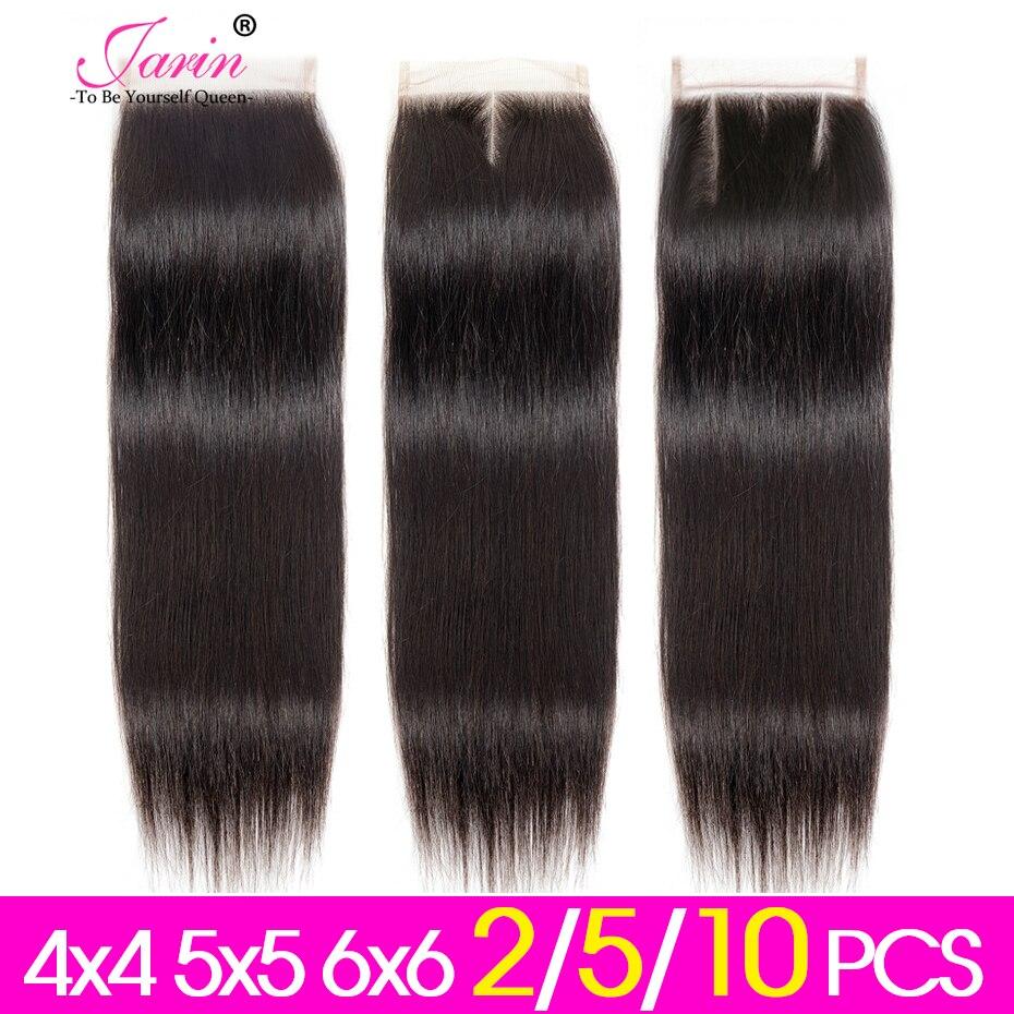 Jarin Hair 2-5-10 unids/lote Cierre de encaje recto 4x4 5x5 6x6 libre/Medio/tres Partes pelo humano peruano Cierre de encaje a granel Remy