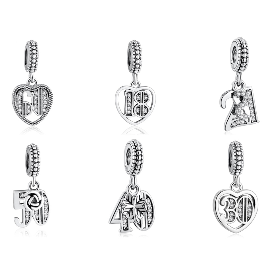 Authentic S925  50 60 18 21 40 30 21 Years Of Love Pendant Dangle Charm fit Lady Bracelet Bangle DIY Jewelry