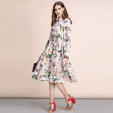 купить Baogarret  Autumn Fashion Runway Long Sleeve Dress Women's Shirt collar lily Flower Print Elegant Casual Midi A Line Dress дешево