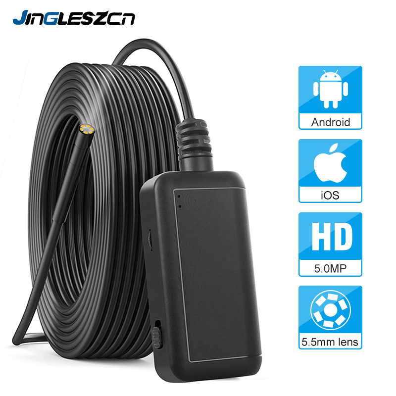 H952a44827d614a9a9978be49dec4cad1w 5.5mm Inspection Camera 5.0MP Wireless Borescope WiFi Snake Camera with 6 LED for iPhone, Samsung, Android Tablet