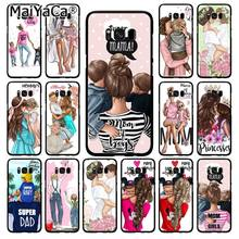 MaiYaCa Fashion Black Brown Hair Baby Mom Girl Dad Phone Case for Samsung Galaxy S9 S10 S10E S6 S7 S8 S9 S9Plus S5 M10 20(China)