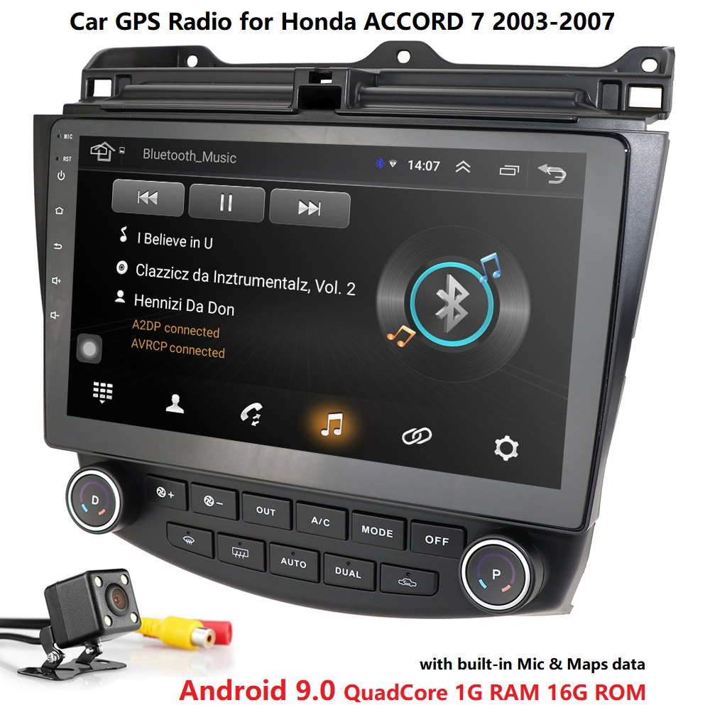 "10.1 ""Android 9.0 Wifi 4G voiture GPS Radio stéréo pour Honda Accord 2003-2007 + HD caméra carte miroir lien DTV SWC DVR Bluetooth USB OBD2"