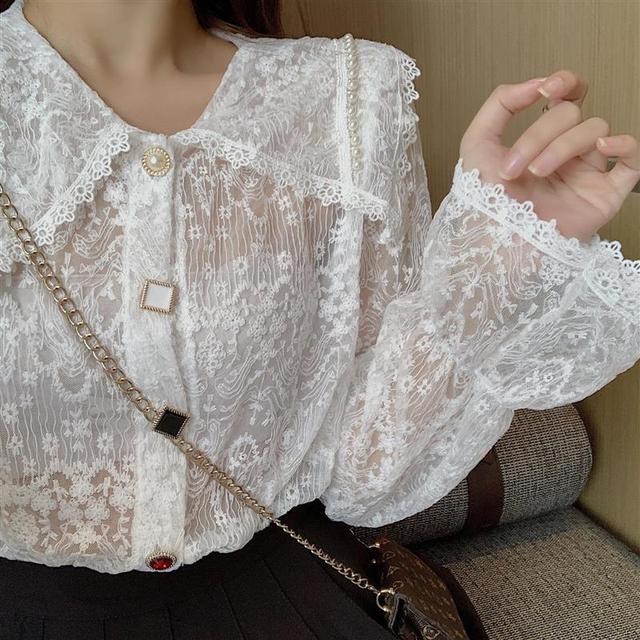 Long Sleeve Lace Blouse Shirt Blouse Women Blusas Mujer De Moda 2021 Beading Turn Down Collar Blouse Blusa Women Blouses E297 6
