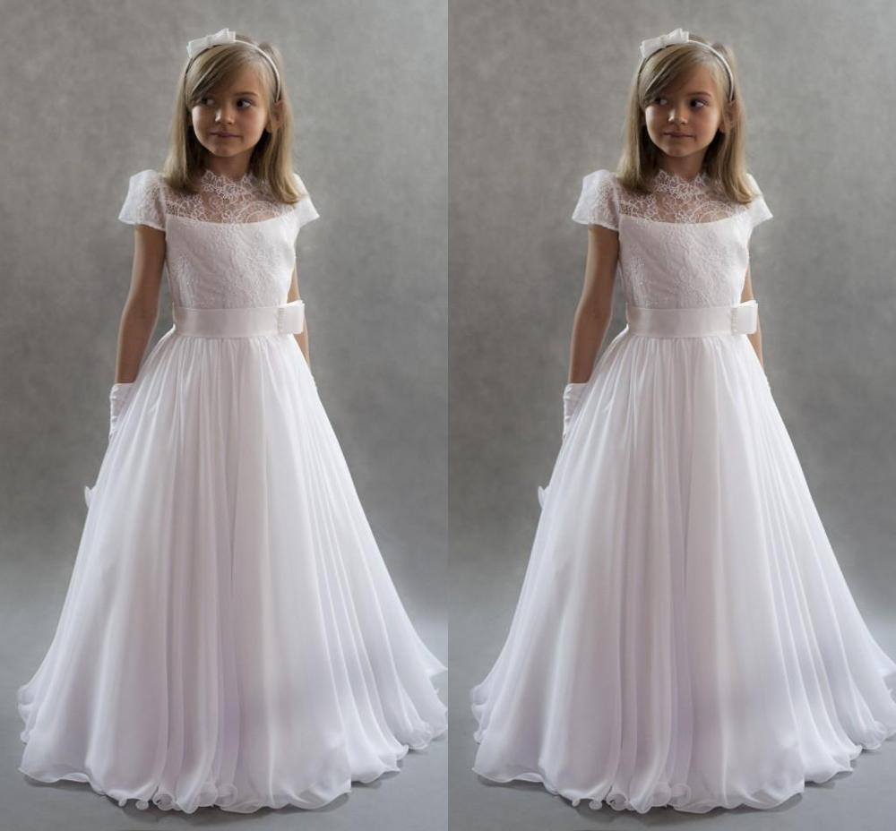 Flower Girls Dresses For Weddings  High Neck Cap Sleeves Lace Chiffon Floor Length First Communion Dresses Kids Party Dre