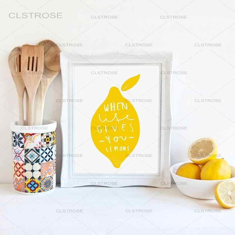 Cucina Nordic Stampe Su Tela Decorazione di Arte Della Parete-Frutta Fresca e Kawaii Limone Immagine della Tela di Canapa Pittura Sala Da Pranzo di Casa di Arte decor