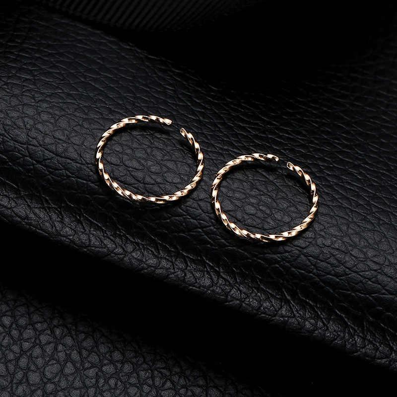 Đơn giản Thời Trang Mở Vòng Xoay Bông Tai dành cho Nữ Cặp Đôi Bông Tai Vàng Màu Bạc Kim Loại Đồng 2019 Tối Giản Trang Sức