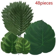 Garden-Decorations Jungle Fern-Plant Turtle-Leaf Artificial-Palm-Leaves Home with Stem