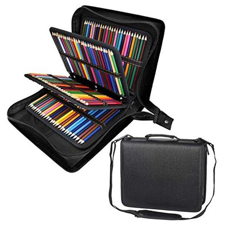 160 Hole Folding Pu Leather School Pencils Case Large Capacity Portable Pencil Bag for Colored Pencil Gel Pen Case Art Supplies in Pencil Bags from Office School Supplies