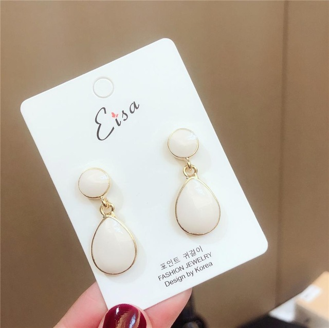 H952a9fa36a5a4e1886b0434f899c37baq - New Arrival Metal Classic Round Women Dangle Earrings Korean Fashion Circle Geometric Earrings Sweet Small Jewelry