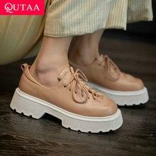 QUTAA 2021 scarpe stringate con plateau moda donna vera pelle primavera autunno pompe da donna punta quadrata tacchi alti taglia 34-39