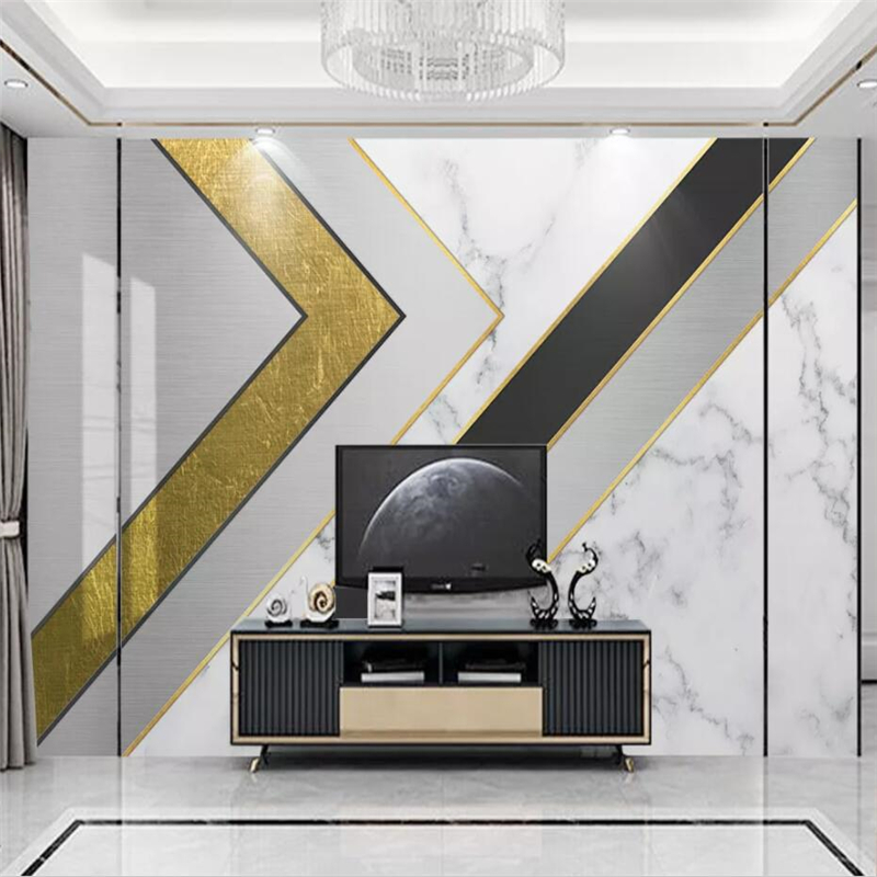 Beibehang Custom 3d Wallpaper Mural Modern Minimalist Geometric Marble Gold Lines Light Luxury TV Background Wall Paper