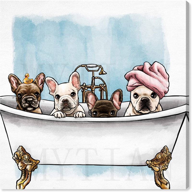 Bulldog Cachorro Baño Baño Hágalo usted mismo Pintura Arte Bordado de Punto de Cruz de Diamantes