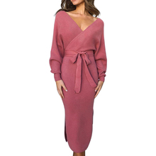 2019 New Autumn Women Knitted Sweater  Long Sleeve Dress Wrap Belted Tunic Vestidos Double V Neck Split Casual Dresses