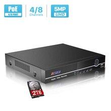 Besder h.265 h.264 poe cctv nvr segurança vigilância gravador de vídeo 8ch 8ch 4mp 4ch 5mp poe nvr iee802.3af para câmeras ip poe
