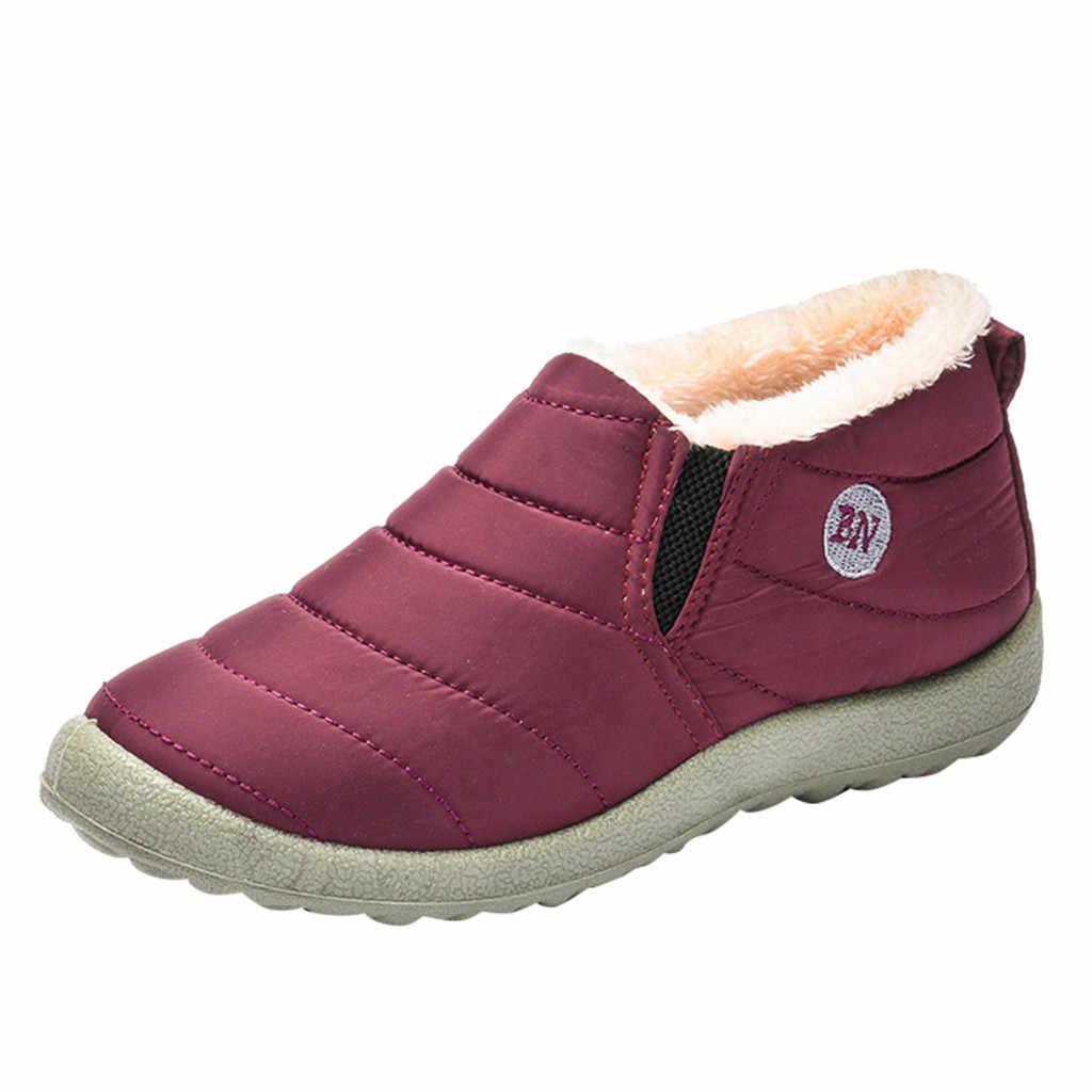 Botas de algodón para nieve a la moda para Dama más terciopelo cálido al aire libre botas de gamuza Botas de lluvia zapatos de agua impermeables con interior de felpa