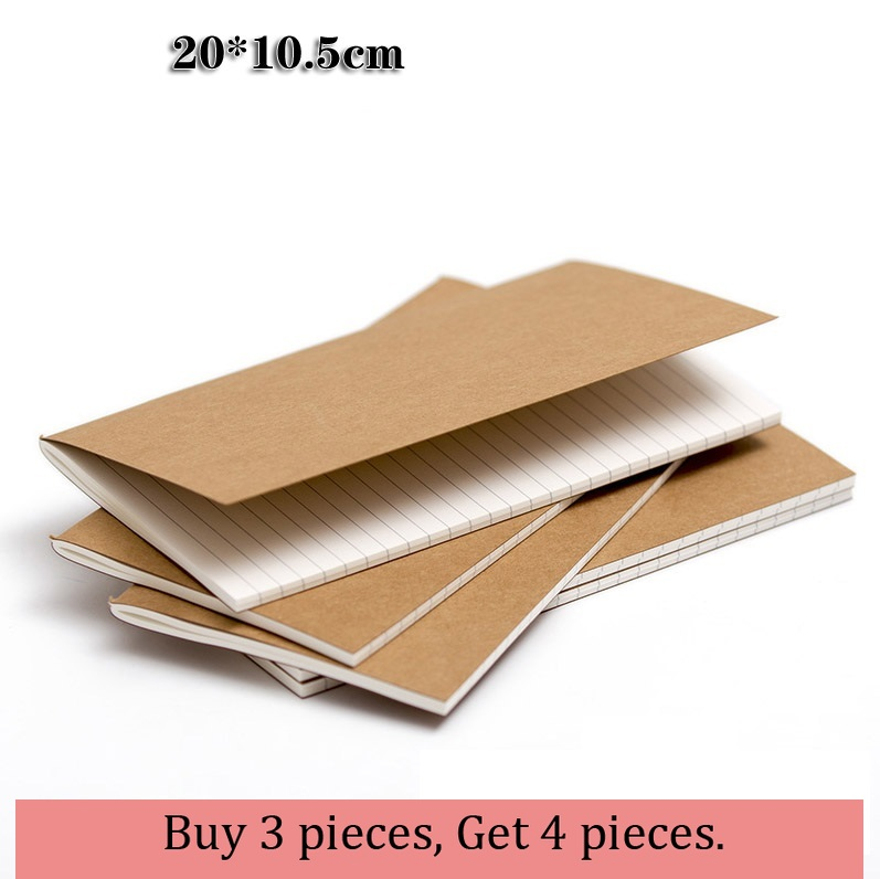 20*10.5cm Vintage Kraft Paper, Notebook Blank Notepad Diary Filler Folios, Journal Traveler's Notebook Refill Planner Organizer