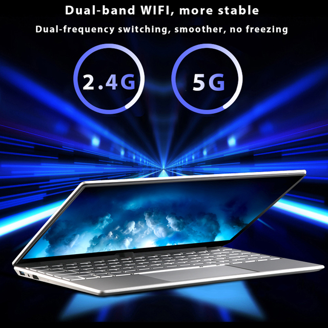 Max RAM 32GB Rom 2TB SSD Ultrabook Gaming Laptop Computer 2.4G/5.0G Wifi Bluetooth Intel Celeron 5205U Metal Windows 10 Laptop 5