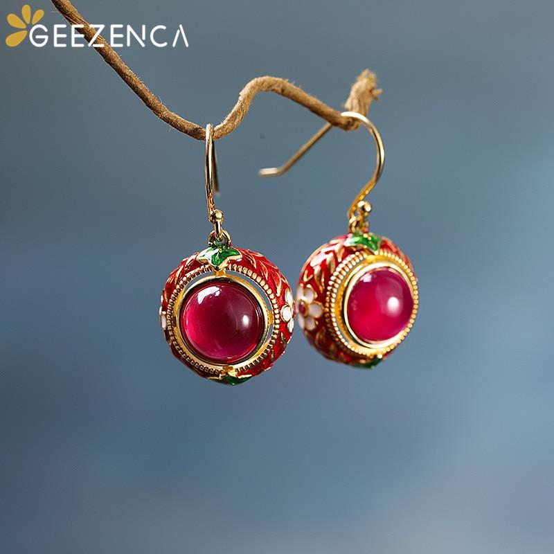 Vintage 925 Sterling Silver Thai Red Corundum Enamel Gemstone Drop Earring For Women Retro Ethnic Handmade Cloisonne Earrings