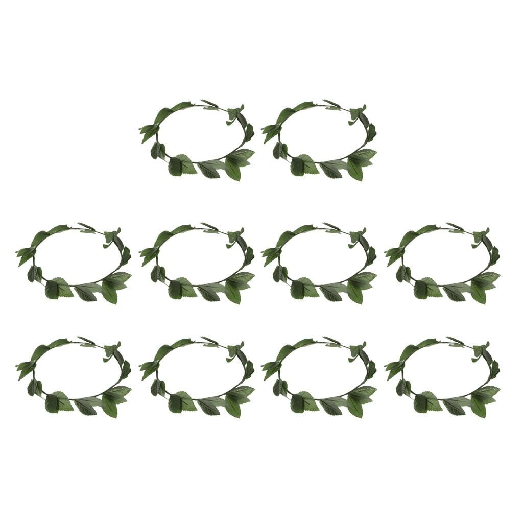10pcs Greek Roman Goddess Toga Plastic Leaves Laurel Wreath Head Band Party