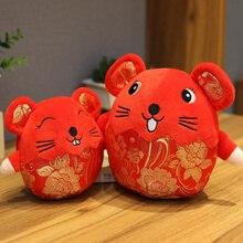 2020 Año de la mascota de la Rata grasa de peluche de juguete rojo que acompaña al ratón de alta calidad colgante de deshidratación regalo de Año Nuevo para los niños